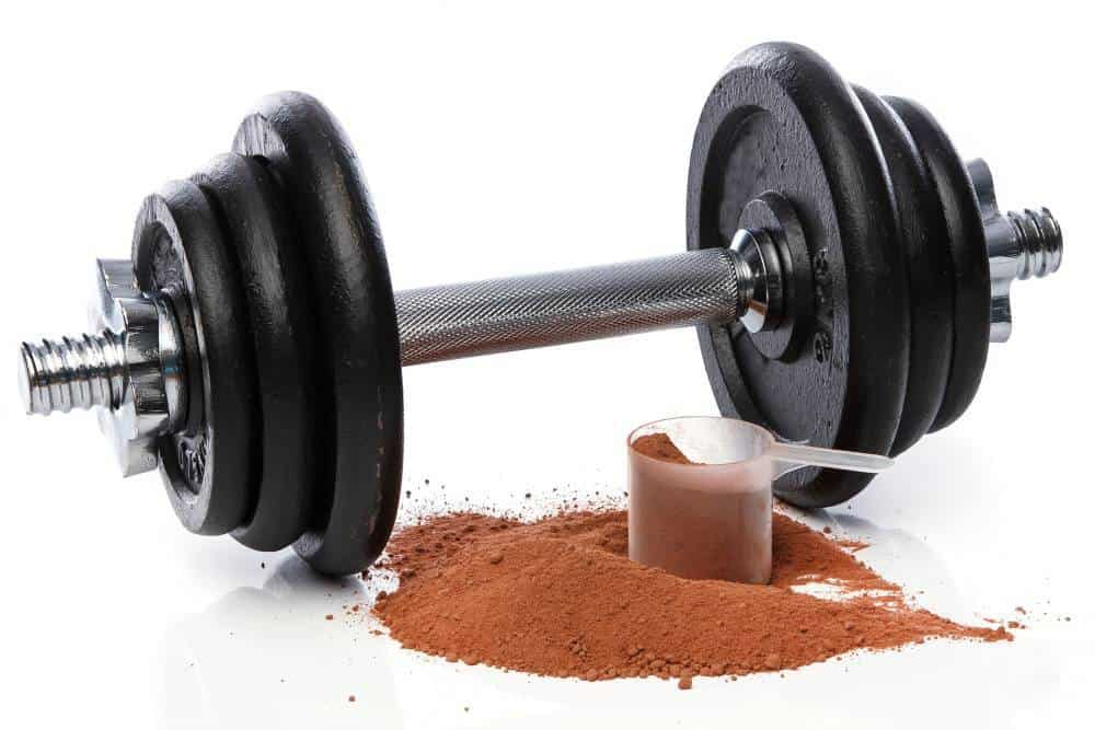 A dumbbell with protein powder.