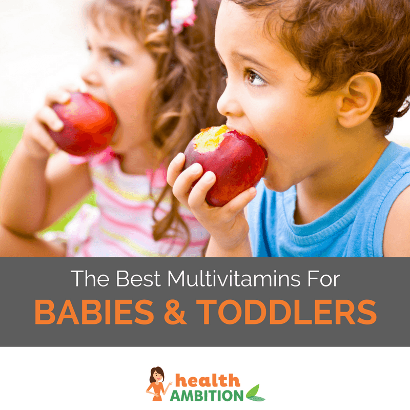 "Children eating apples with the title ""The Best Multivitamins For Babies and Toddlers"""