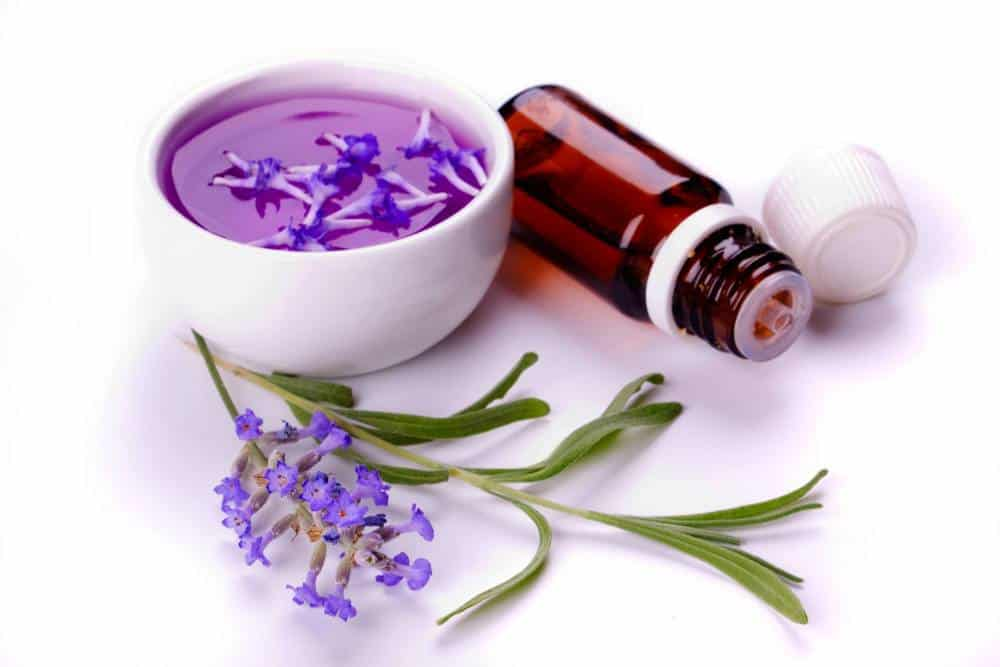 A cup of lavender essential oil.
