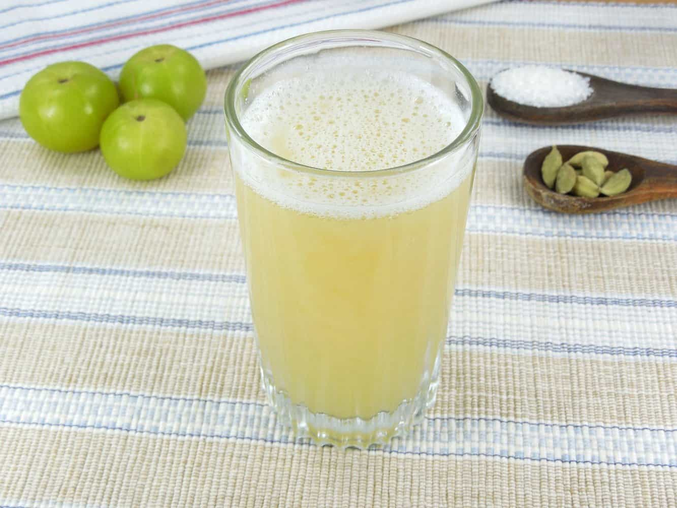 A glass of amla juice.