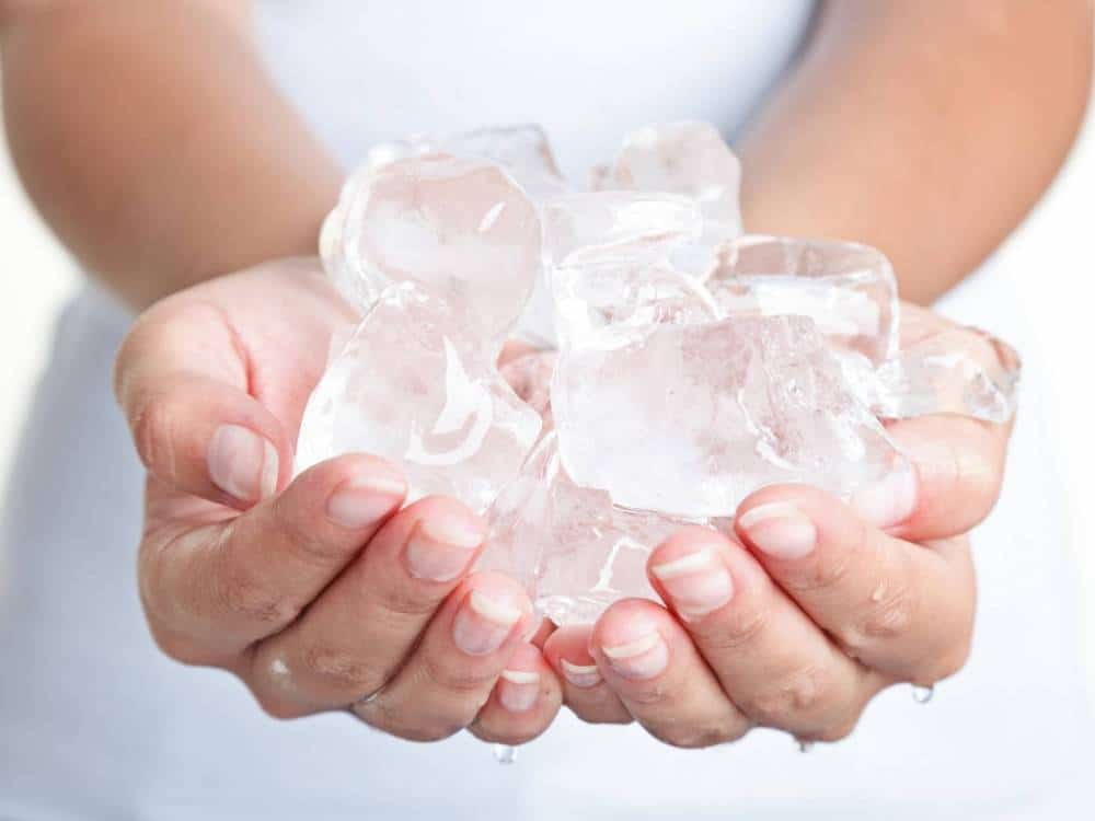 A handful of ice.