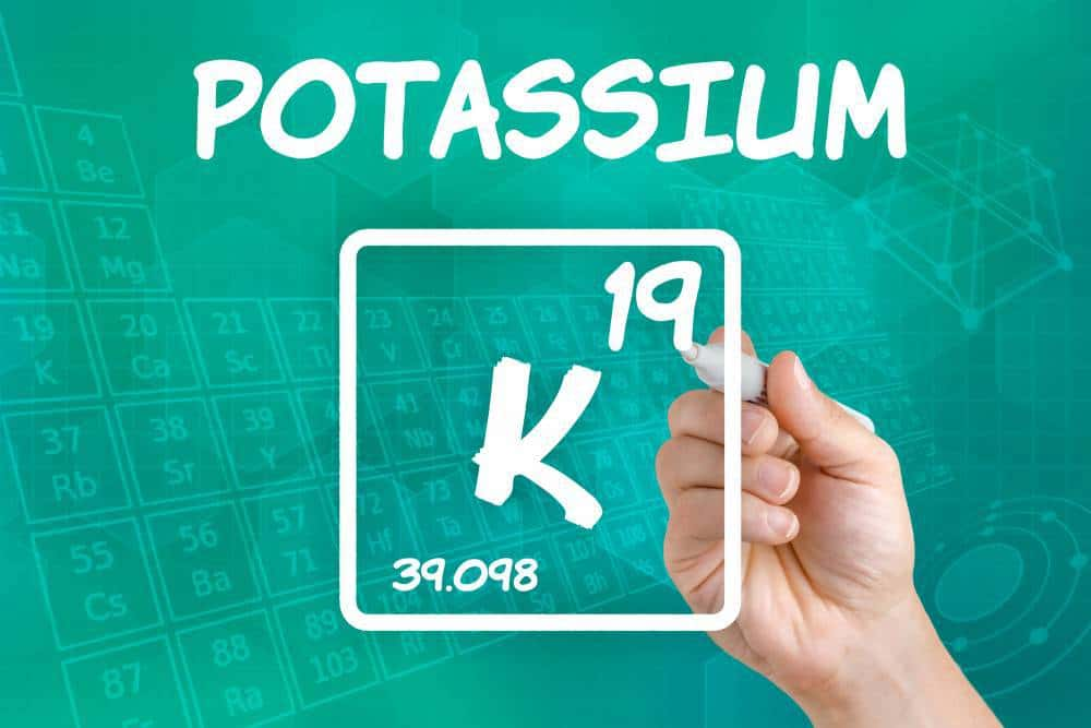 Potassium symbol from the periodic table.