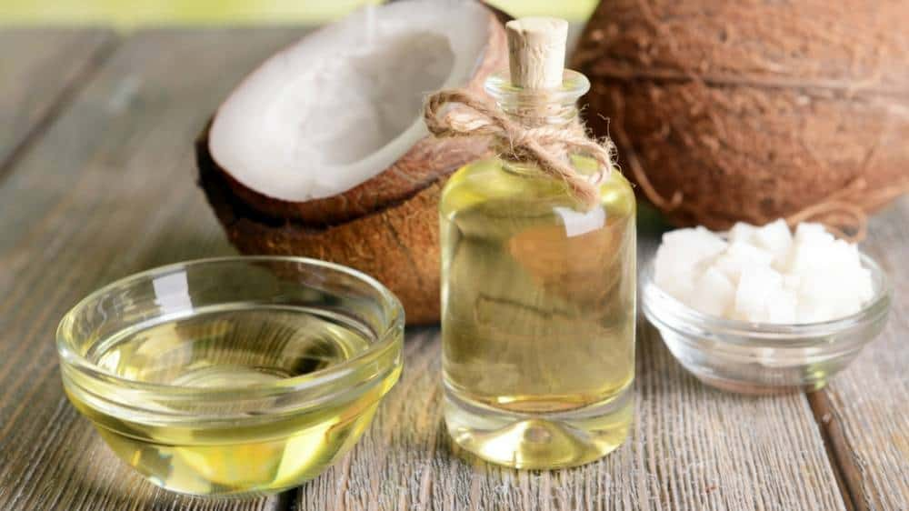 Coconut oil and coconut shells.