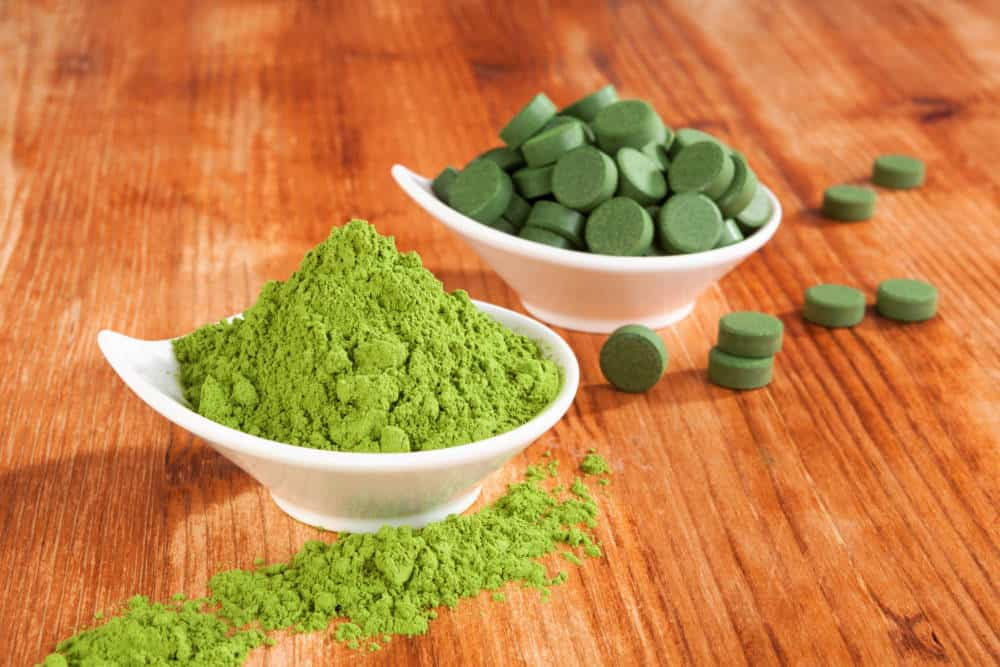 Green tea powder and tablets.