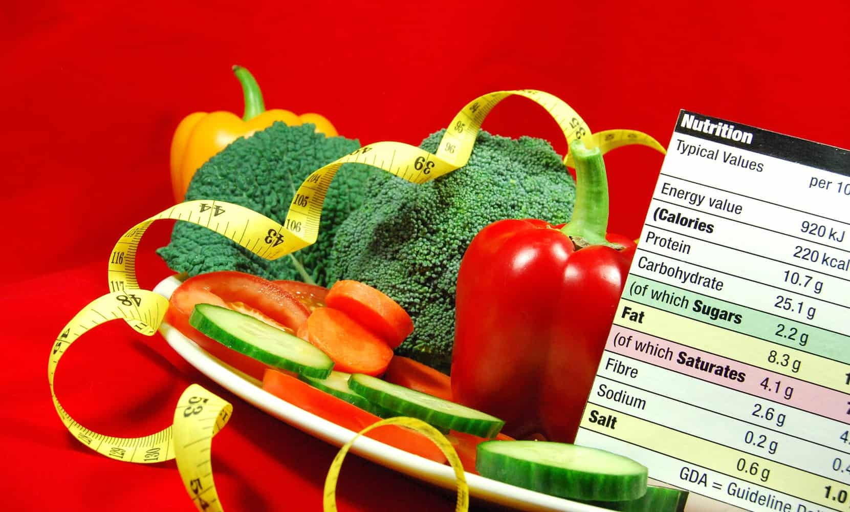 Vegetables next to a nutrient chart and measuring tape.