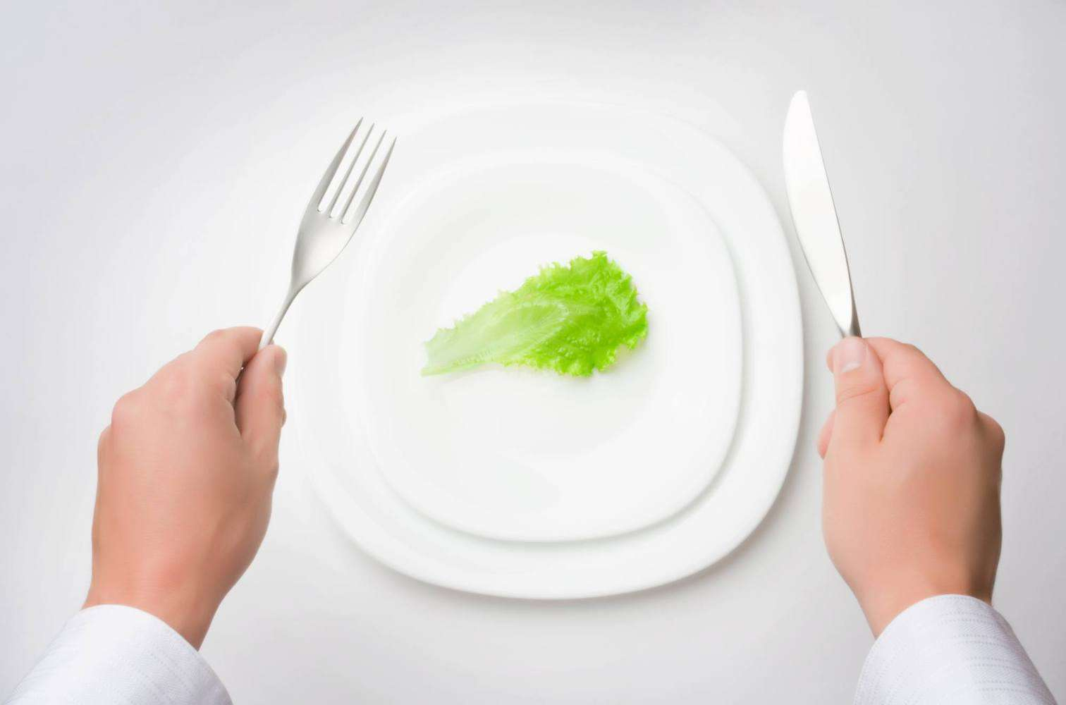 A small salad leaf on a plate.