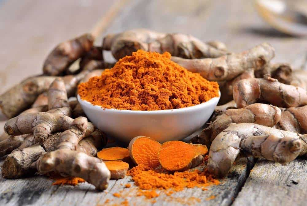Turmeric root and powder.