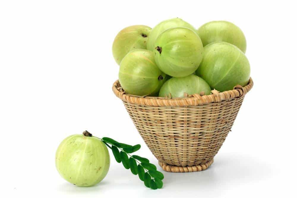 A basket of amla fruit.