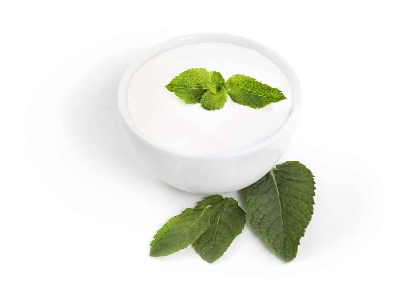 A bowl of yogurt and leaves.