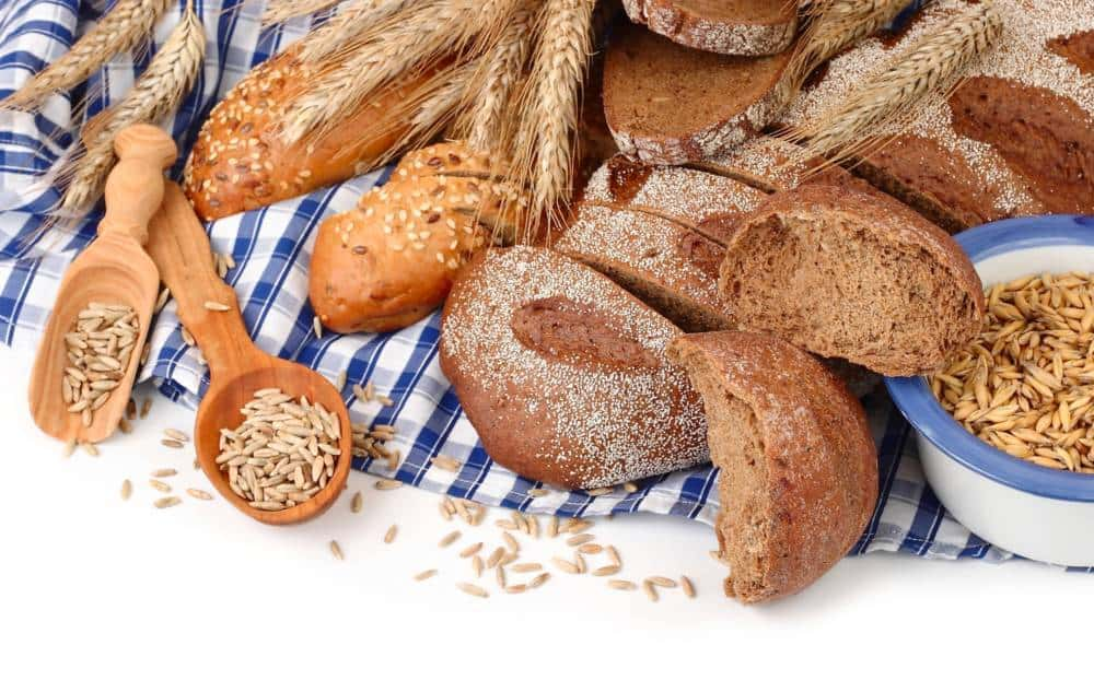 Various types of bread and carbohydrates and fiber.