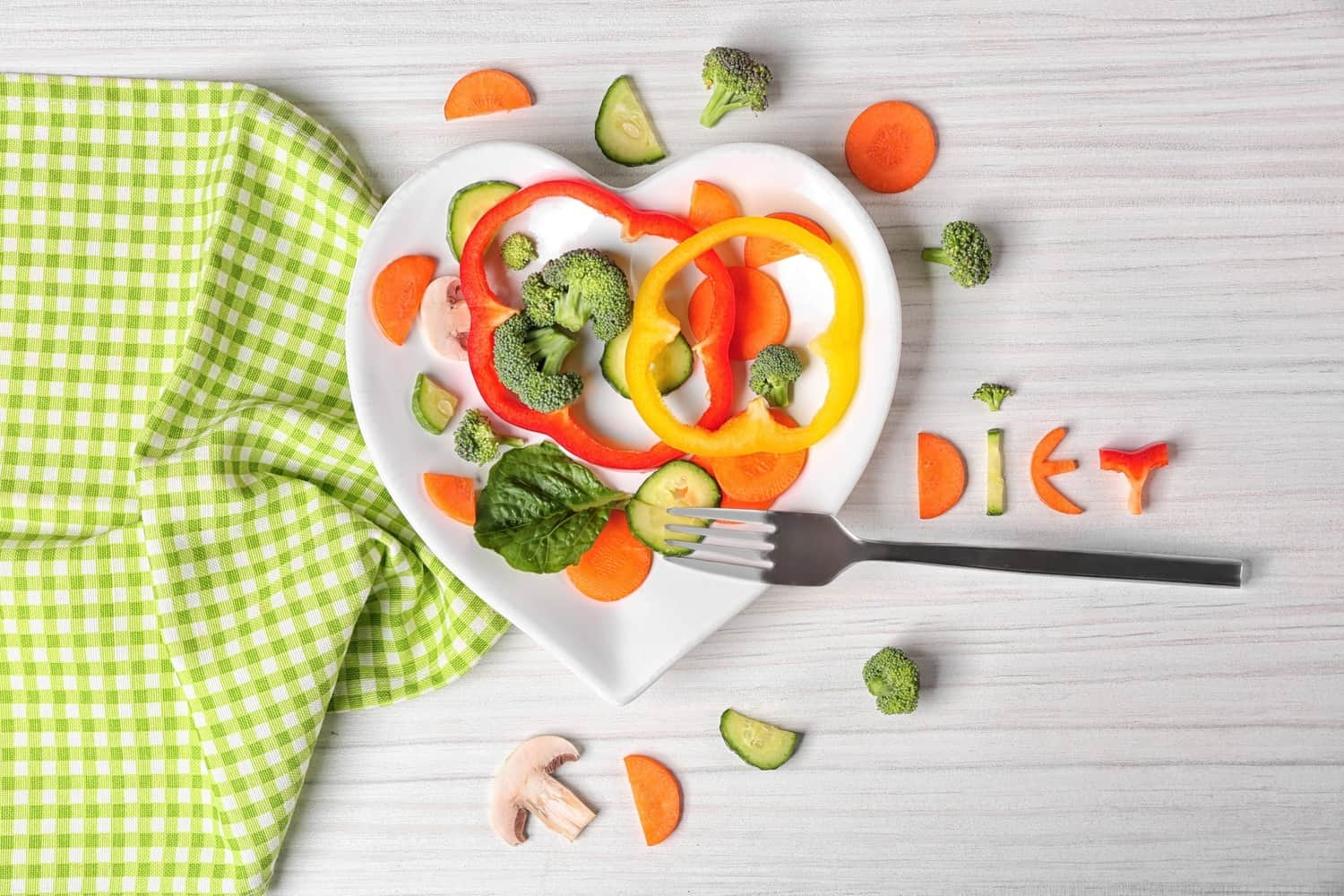 A plate of vegetables.