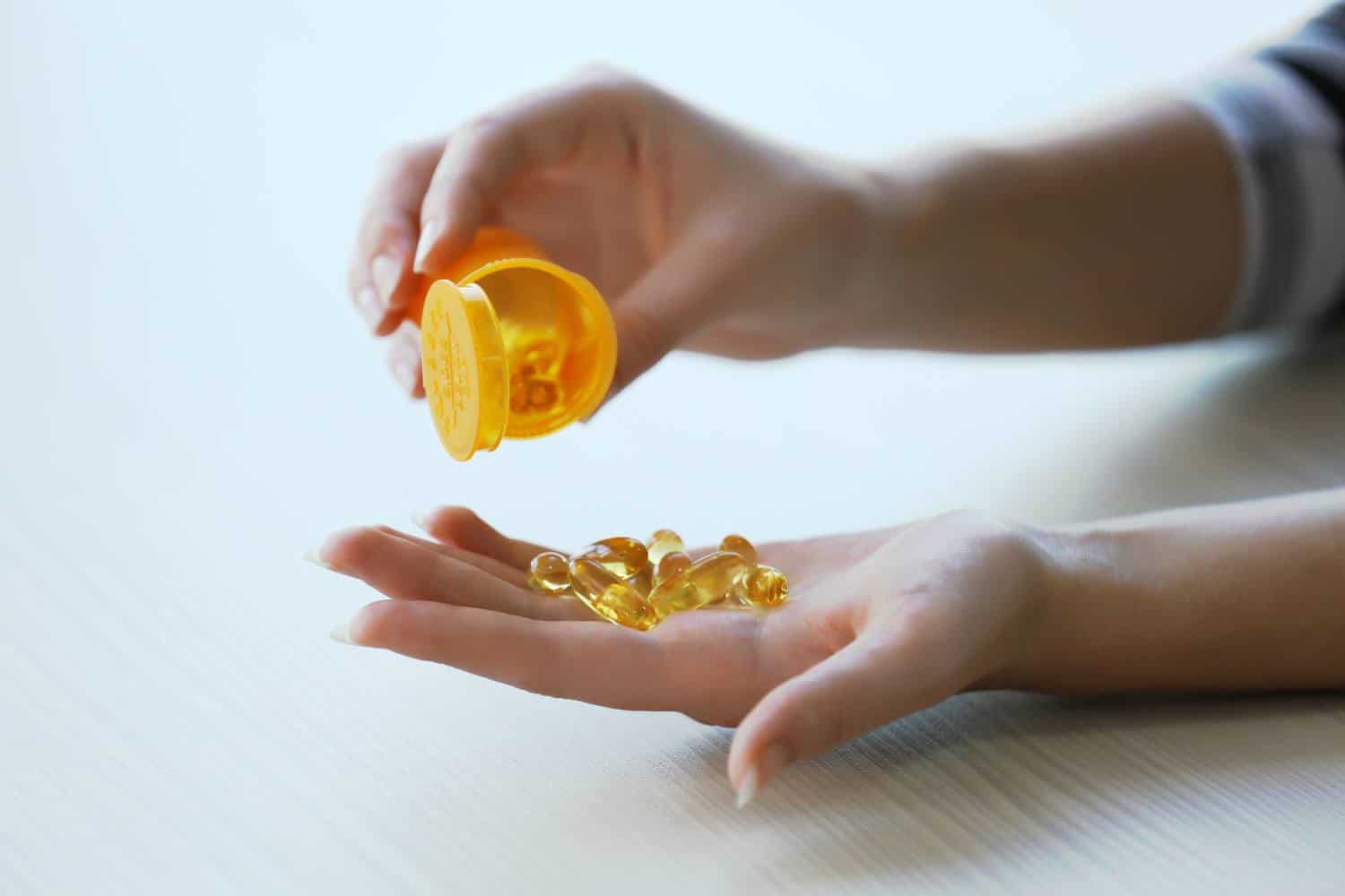 Fish oil supplement capsules.