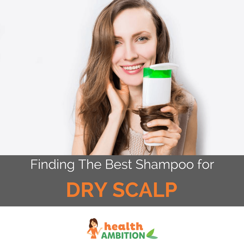 "A woman holding a shampoo tied with her hair with the title ""Finding The Best Shampoo for Dry Scalp"""