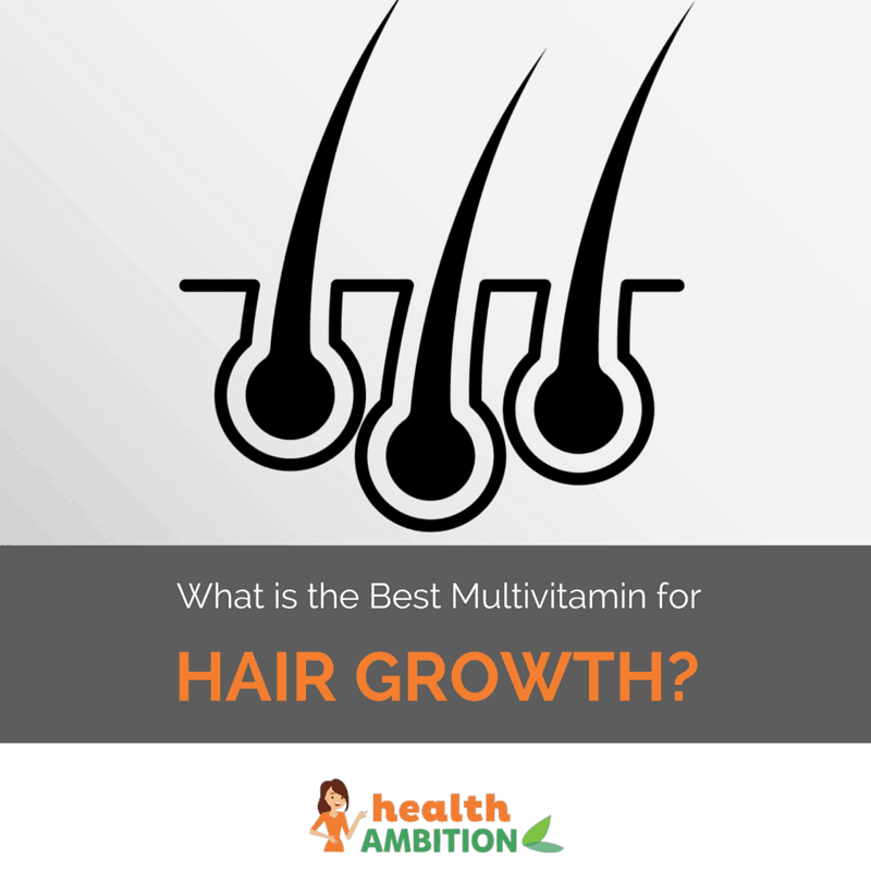 "Hair in follicles with the title ""What is the Best Multivitamin for Hair Growth?"""