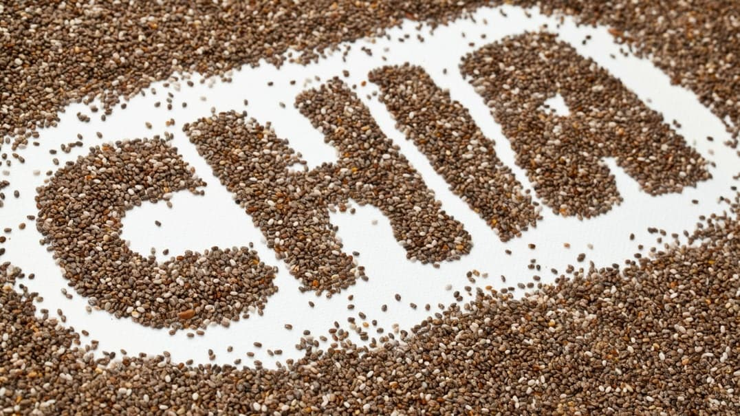 The word chia made up of chia seeds.