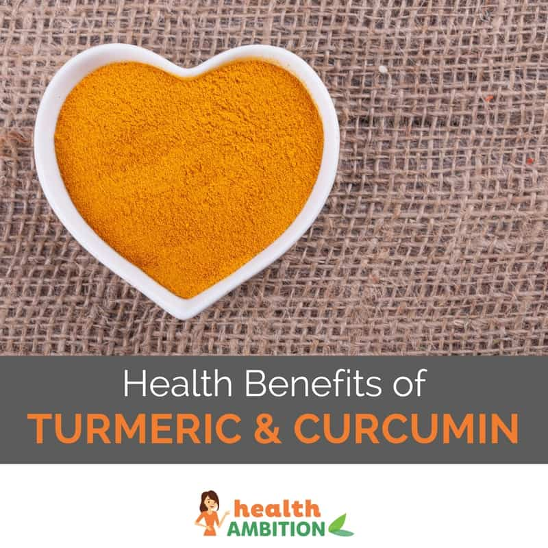 "Turmeric in a heart-shaped cup with the title ""Health Benefits of Turmeric and Curcumin"""