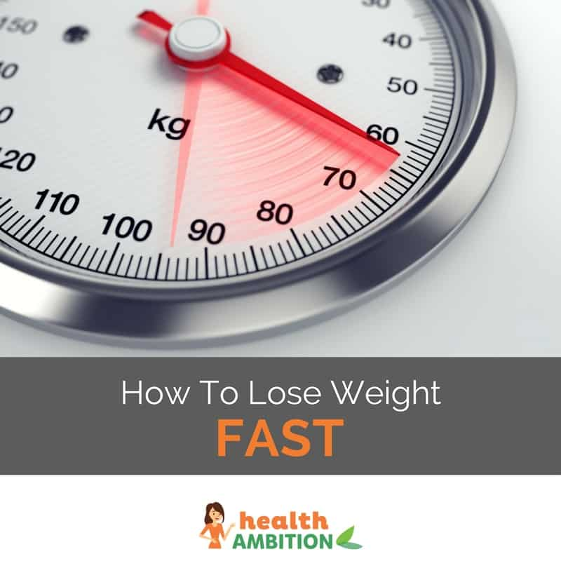 "A scale's arm moving fast towards a lower value with the title ""How To Lose Weight Fast"""