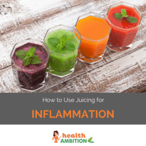 "Glasses of vegetable and fruit juice with the title ""How to Use Juicing for Inflammation"""