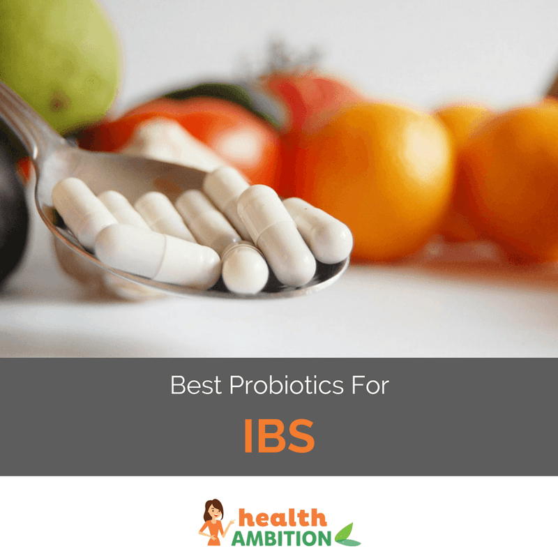 "A spoonful of capsules with the title ""best probiotics for IBS"""