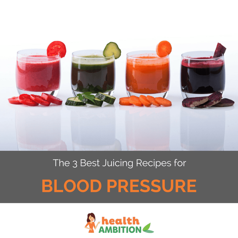 "Glasses of vegetable juice with the title ""The 3 Best Juicing Recipes for Blood Pressure"""