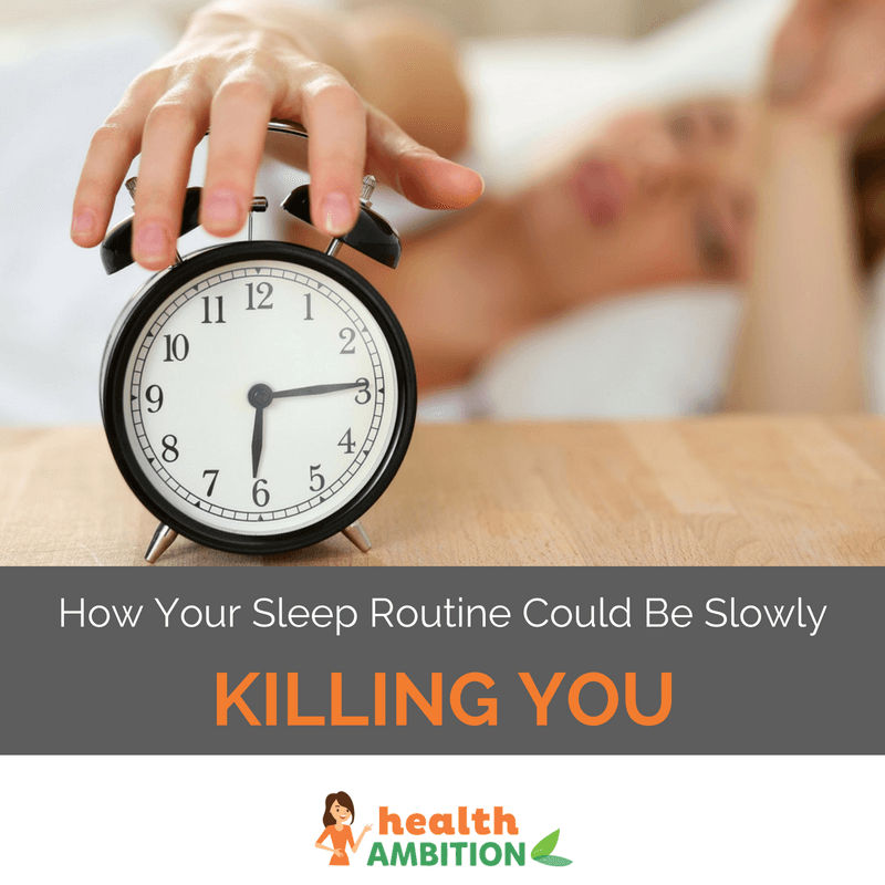 "A person stoppngi their alarm clock with the title ""How Your Sleep Routine Could Be Slowly Killing You"""
