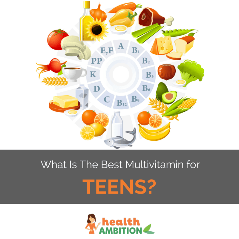 "A cycle of vitamins with their food sources with the title ""what is the Best Multivitamin for Teens"""