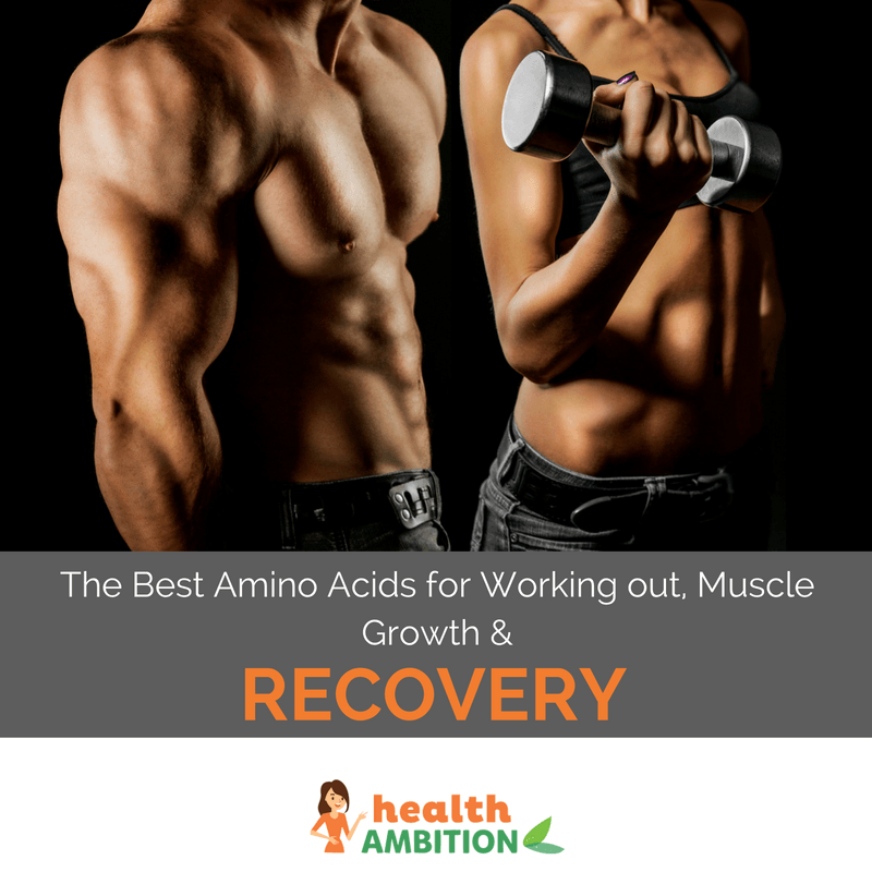 "Male and female muscular bodies with the title ""The Best Amino Acids for Working out, Muscle Growth and Recovery"""