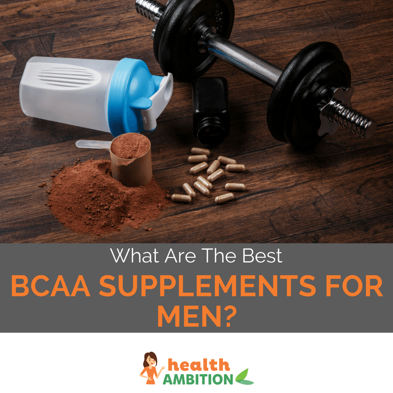 "A dumbbell with protein powder and a shaker with the title ""What Are The Best BCAA Supplements For Men?"""