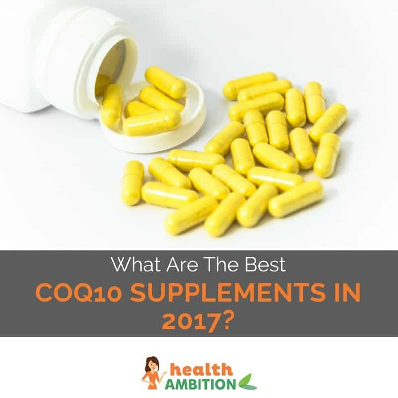 "Yellow capsules with the title ""What Are The Best COQ10 Supplements in 2017?"""