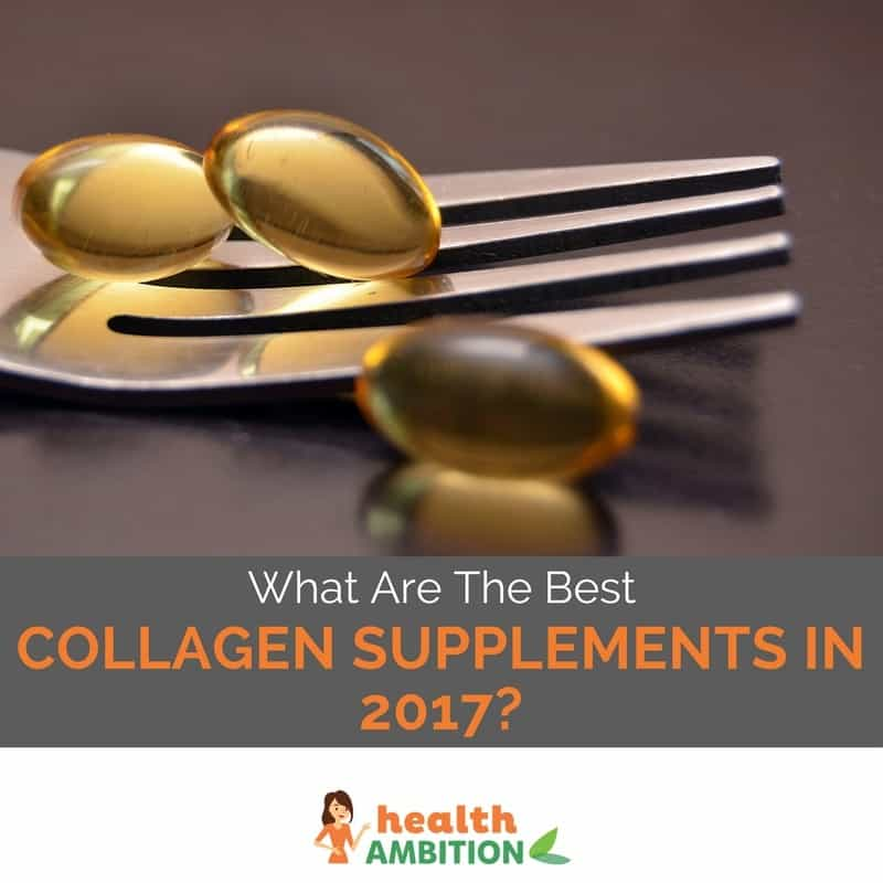 "Fish oil capsules on a fork with the title ""What Are The Best Collagen Supplements in 2017?"""