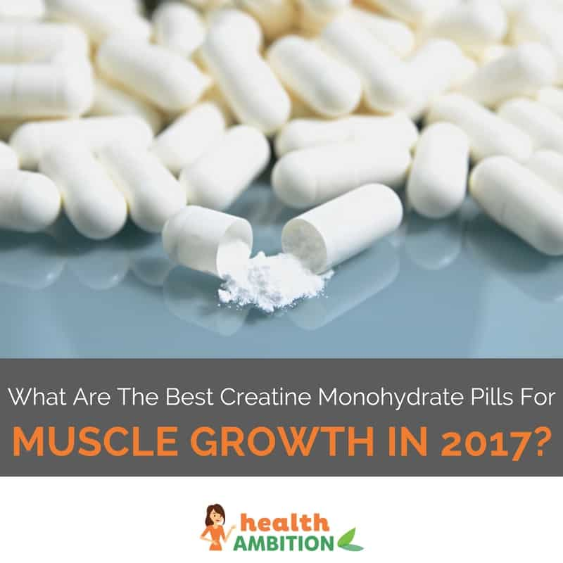 "Broken capsules with the title ""What Are The Best Creatine Monohydrate Pills For Muscle Growth in 2017?"""
