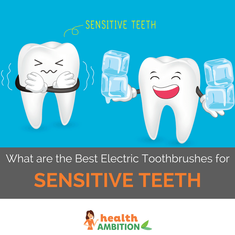 "A tooth giving ice to another, sensitive tooth with the title ""What are the Best Electric Toothbrushes for Sensitive Teeth?"""