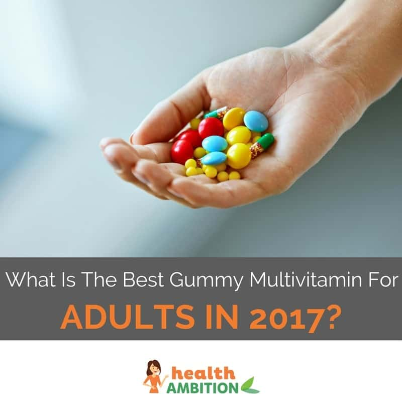 A handful of tablets and gummy vitamins with the title """"