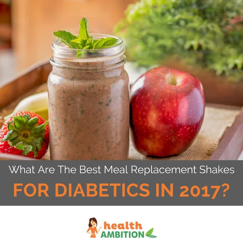 "A brown colored shake with the title ""What Are The Best Meal Replacement Shakes For Diabetics in 2017?"""