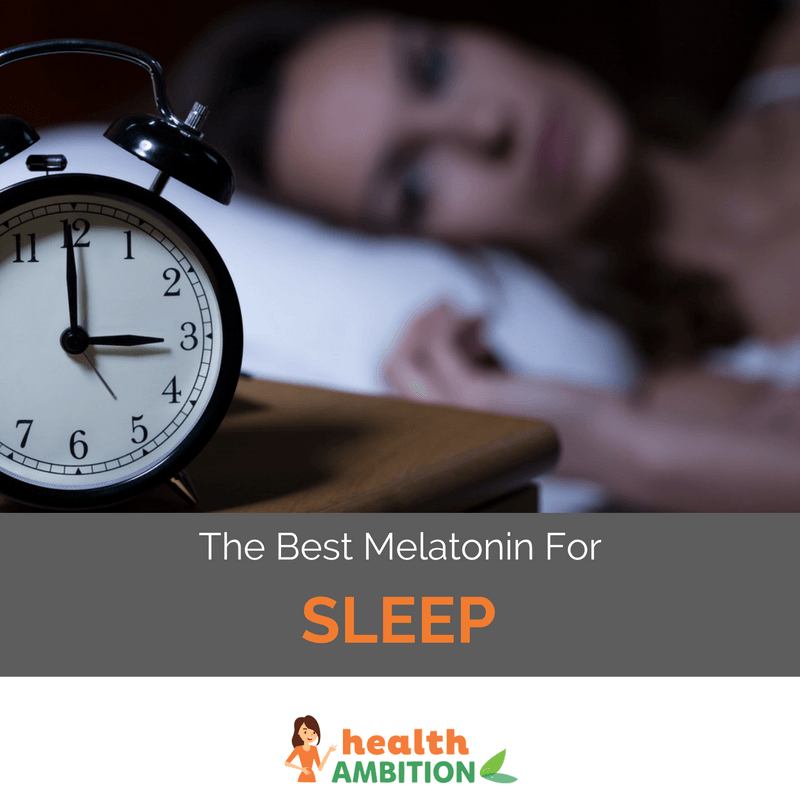 "A sleepless woman looking at her alarm clock. with the title ""The Best Melatonin Brand for Sleep"""