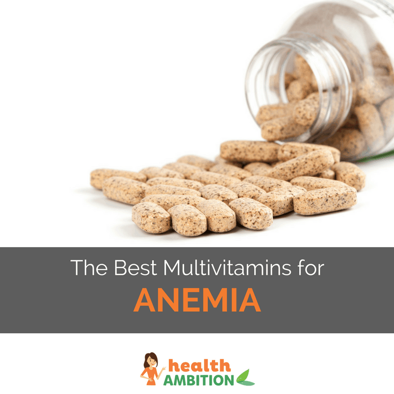 "Vitamin tablets with the title ""The Best Multivitamins for Anemia"""