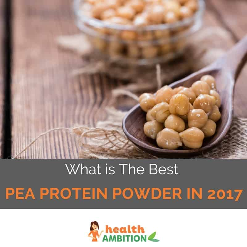 """A spoonful of peas with the title """"What is The Best Pea Protein Powder in 2017"""""""