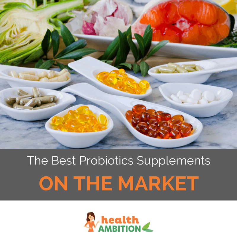 "Spoonfuls of probiotic capsules and supplements with the title ""The Best Probiotics Supplements on The Market?"""