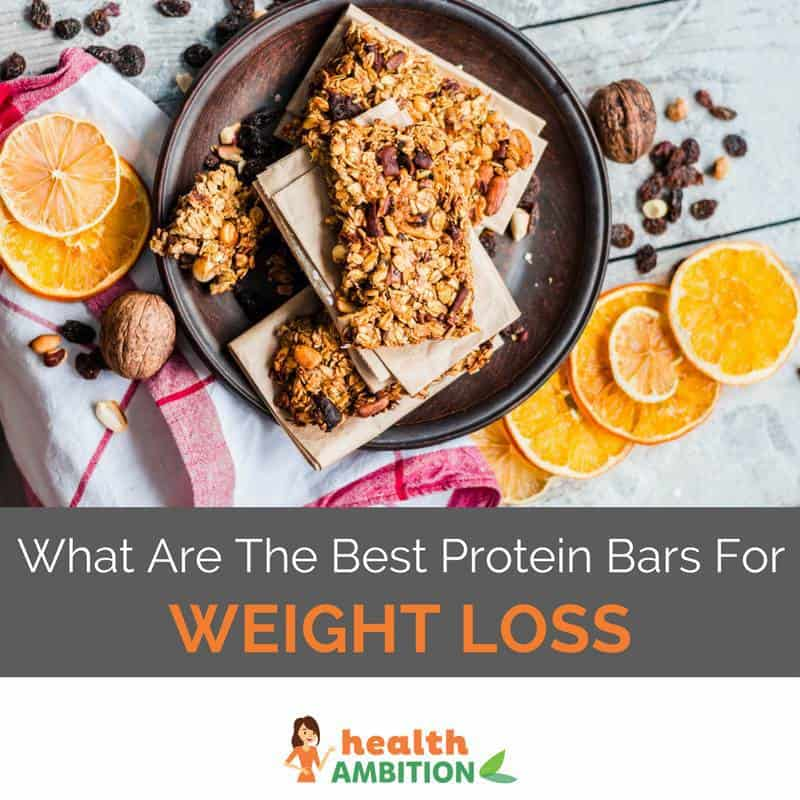 "Protein bars on a plate with the title ""What Are The Best Protein Bars For Weight Loss"""