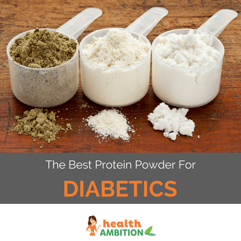 "Protein powder in spoons with the title ""The Best Protein Powder For Diabetics"""