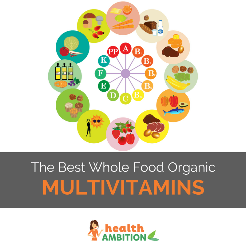 "A circle of vitamins surrounded by foods with the title ""The Best Whole Food Organic Multivitamins"""