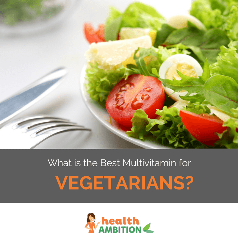 "A salad with the title ""What is the Best Multivitamin for Vegans & Vegetarians?"""