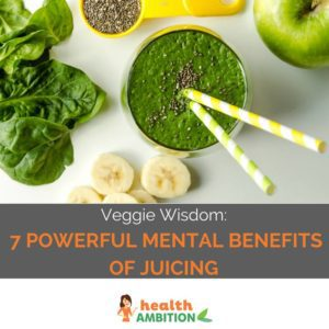 "Green vegetable juice in a glass with the title ""Veggie Wisdom: 7 Powerful Mental Benefits of Juicing"""