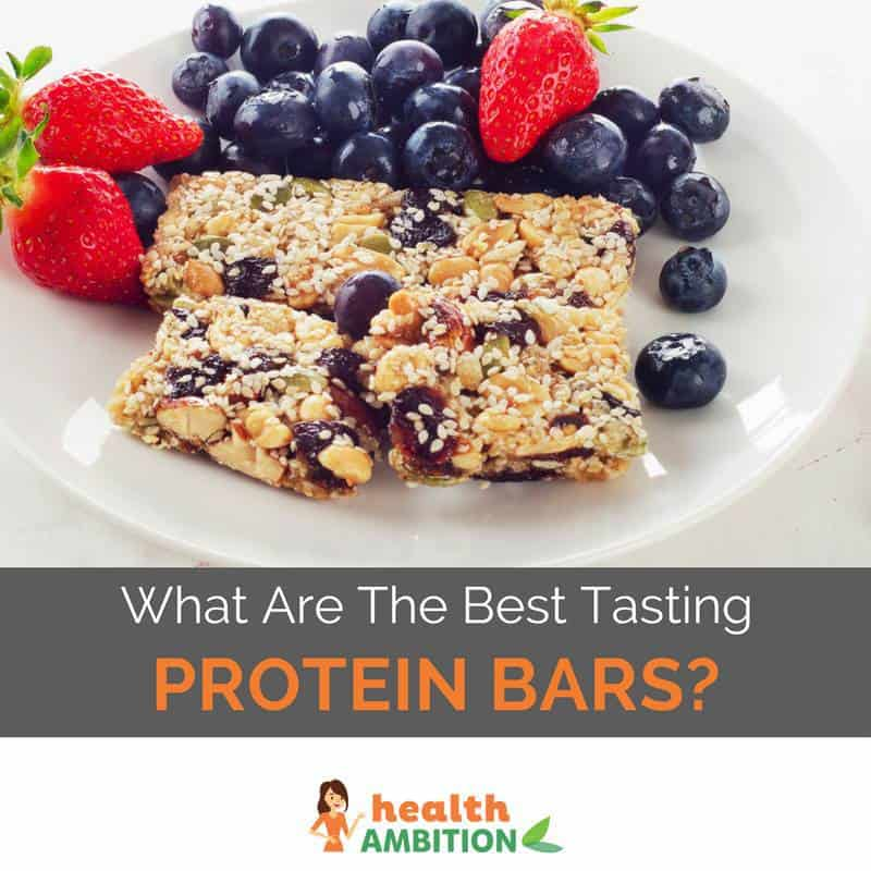 "Protein bars on a plate with fruit with the title ""What Are The Best Tasting Protein Bars?"""