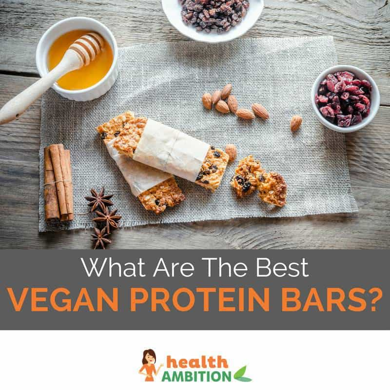"Protein bars and fruit with the title ""What Are The Best Vegan Protein Bars?"""