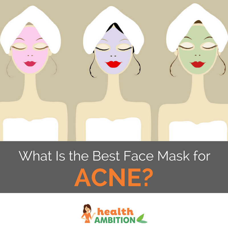 "graphic of women wearing facemasks with the title ""What Is the Best Face Mask for Acne?"""