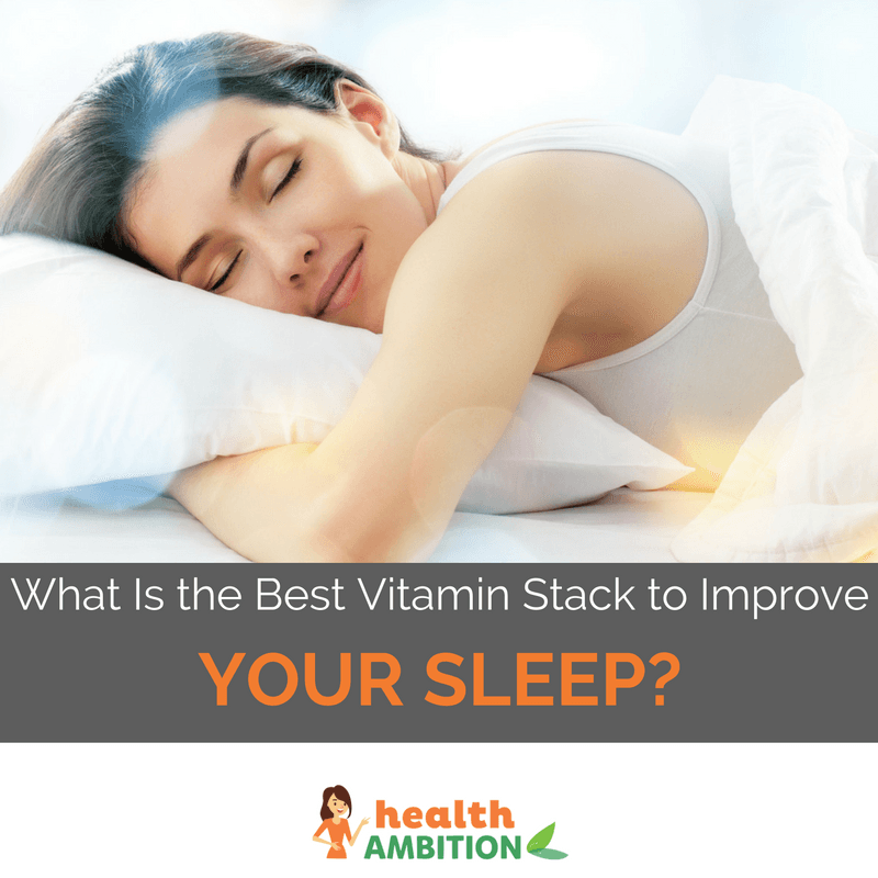 "A woman sleeping well with the title ""What Is the Best Supplement Stack to Improve Your Sleep?"""