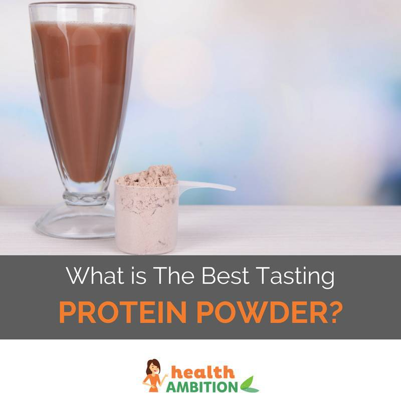 "A glass of protein shake next to protein powder with the title ""What is The Best Tasting Protein Powder"""