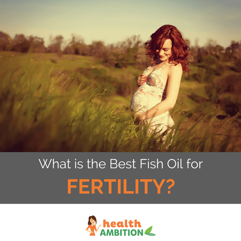 "A pregnant woman in a meadow with the title ""What is the Best Fish Oil for Fertility?"""