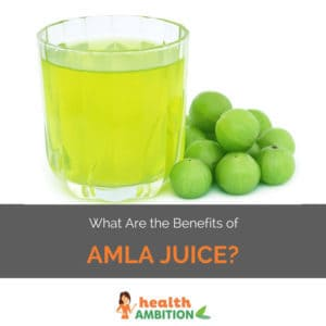 "A glass of amla juice with the title ""What Are the Benefits of Amla Juice?"""